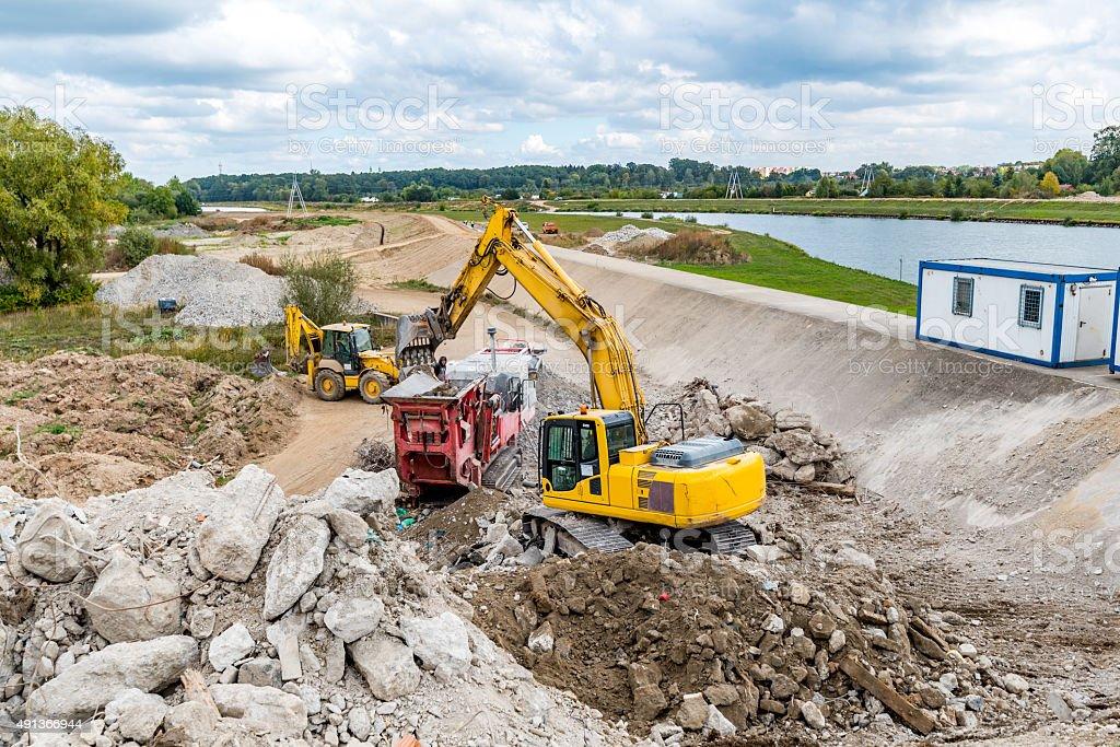 Dam reconstruction stock photo