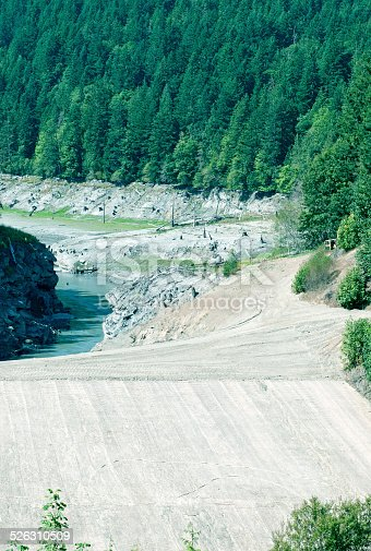 Dam removal site on Elwha River in Olympic National Park in Washington state showing empty reservoir and former location of dam
