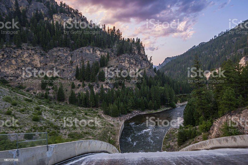 Dam spillway at sunset stock photo