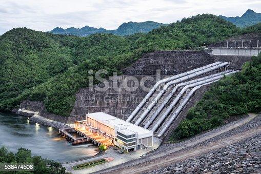 Dam srinakarin power plant in mountain lake at kanchanaburi