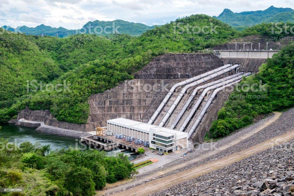 Dam srinakarin power plant on hill at kanchanaburi stock photo