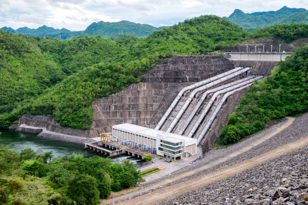 Dam srinakarin power plant on hill at kanchanaburi stock photo