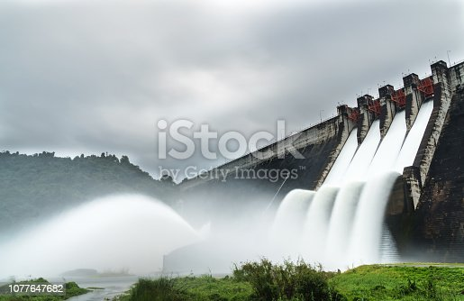 Dam water release Water spills over the top of dam