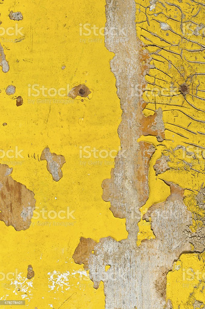 Damage and rusty yellow paint wall royalty-free stock photo