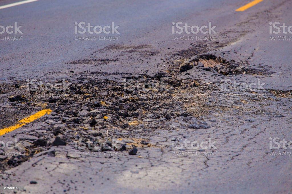Damage asphalt concrete road stock photo