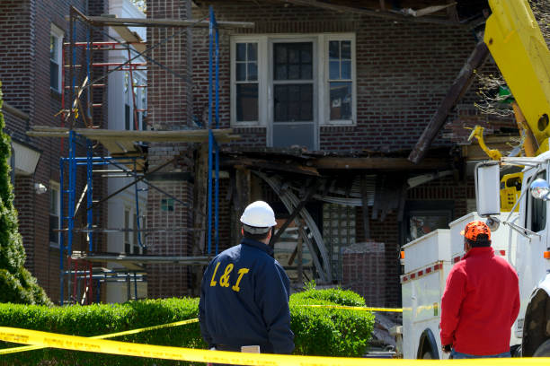 Damage Assesment after Building Collapse stock photo