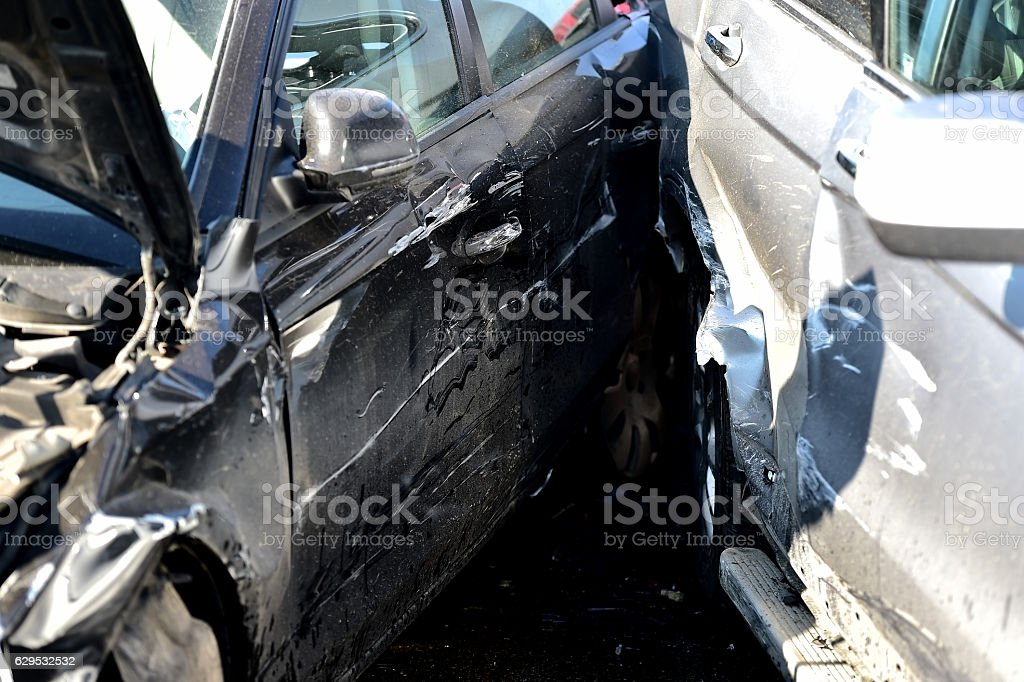 Damage automobile after a car crash stock photo