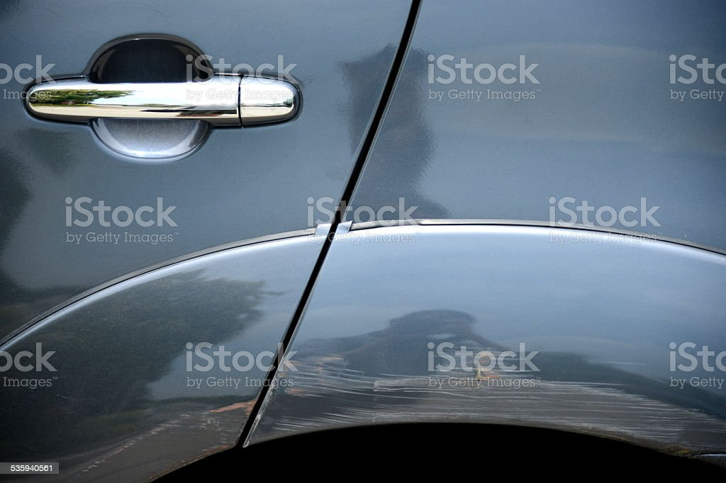 Damage Color from Car Accident stock photo