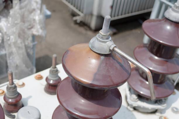 damage electrical insulator stock photo