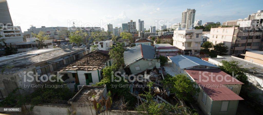 Damage from Hurricane Maria, San Juan, Puerto Rico stock photo