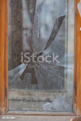 istock Damage from impact stone or bullets 531307884