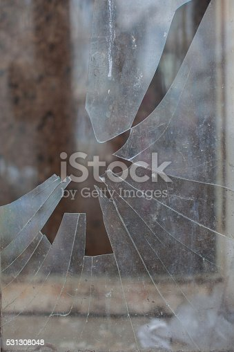 istock Damage from impact stone or bullets 531308048