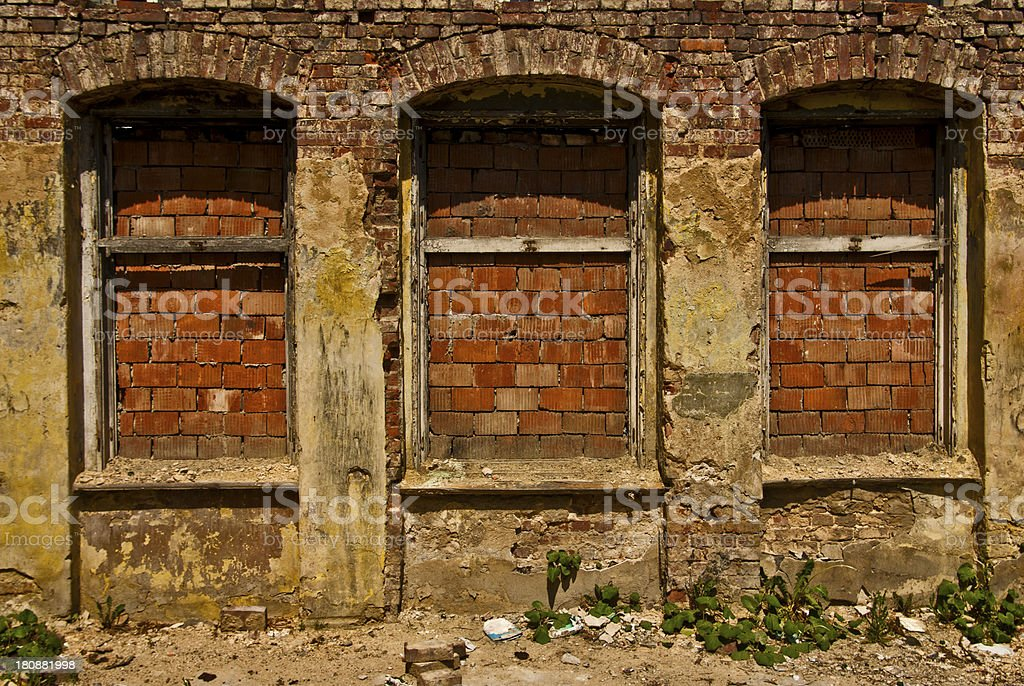 Damage in City of Industry, Ruined Brick Building with royalty-free stock photo