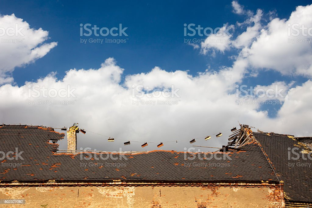 damage roof stock photo