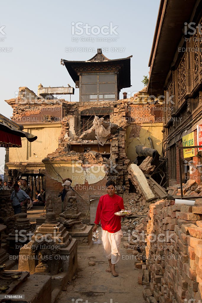 Damage sustained at Swayambhunath Monkey Temple in Kathmandu, Nepal. stock photo