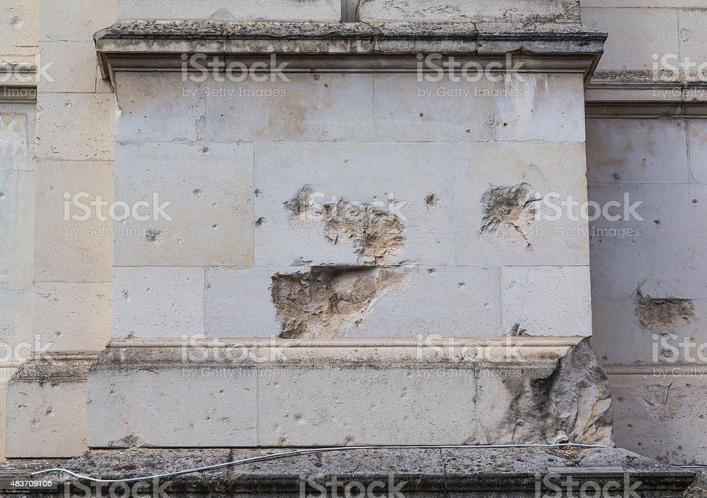 Damage to Brickwork stock photo