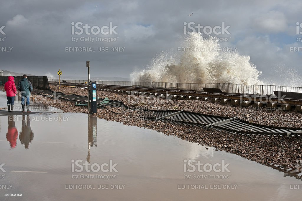 Damage to railway line at Dawlish after severe storm stock photo