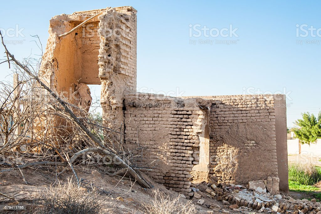 Damaged abandoned house. stock photo