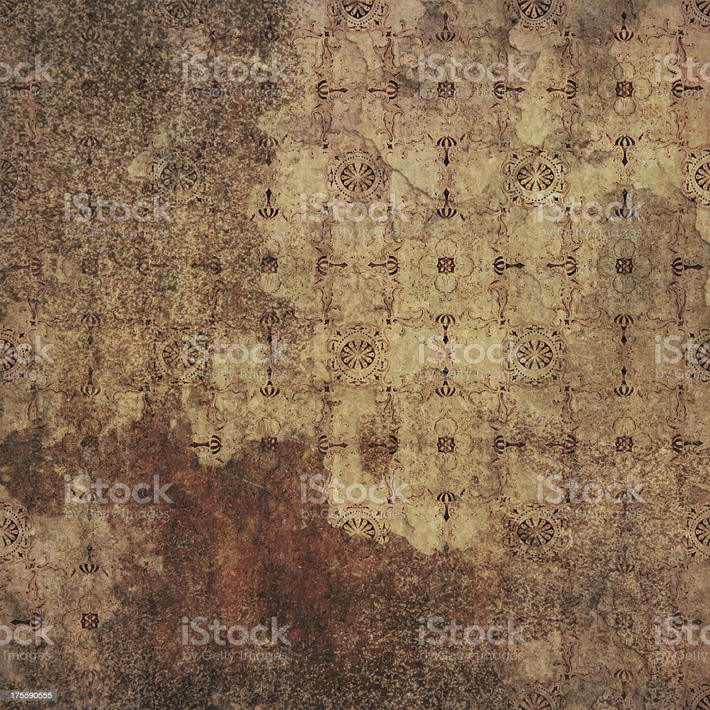 Damaged aged brown wallpaper royalty-free stock photo