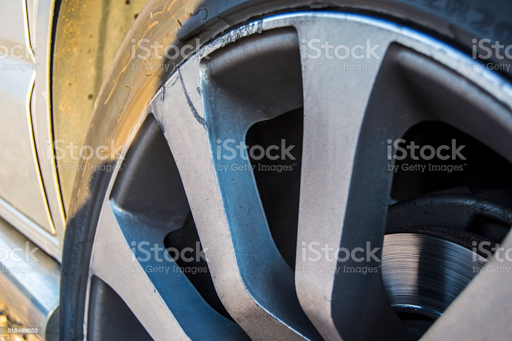 Damaged Alloy Wheel stock photo