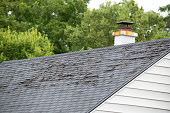 Damaged and old roofing shingles and gutter system on a house