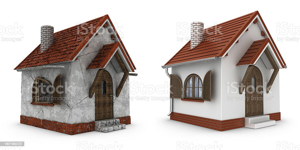 damaged and renovated houses stock photo