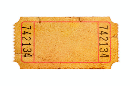 Damaged and stained blank admission ticket