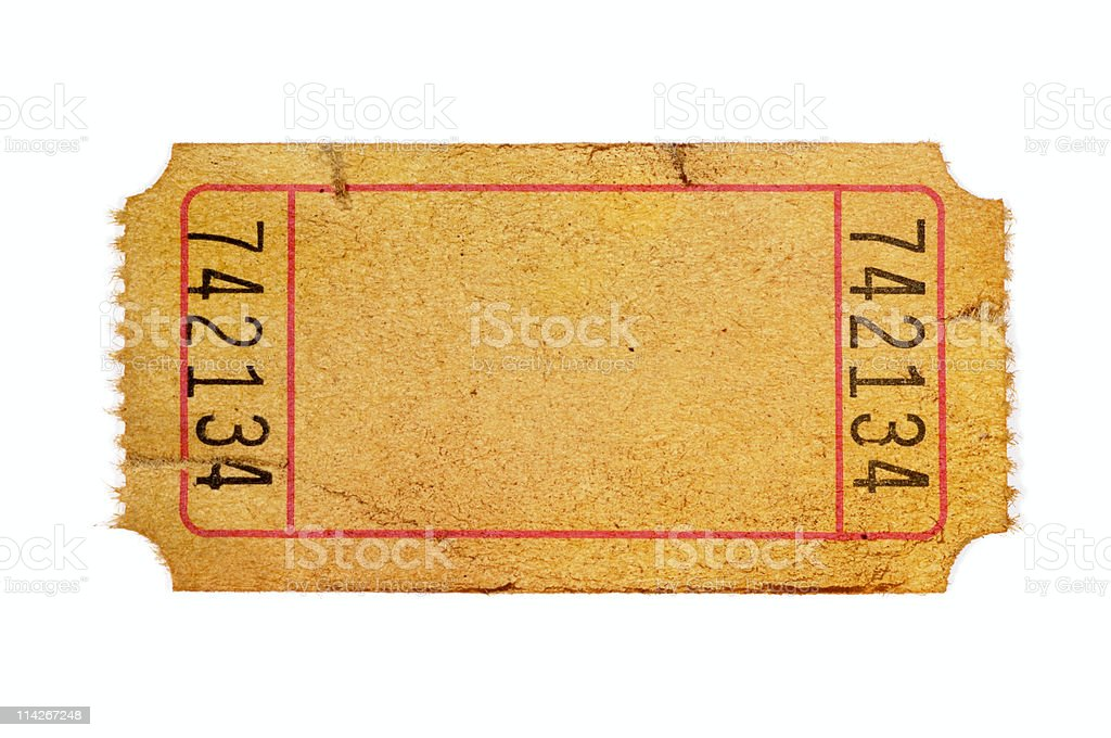 Damaged and stained blank admission ticket stock photo