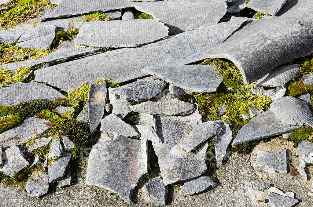 Damaged Asbestos stock photo