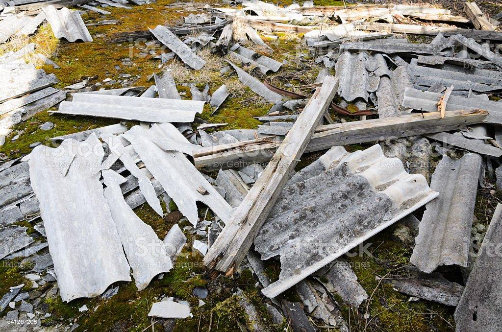 Damaged Asbestos stock photo