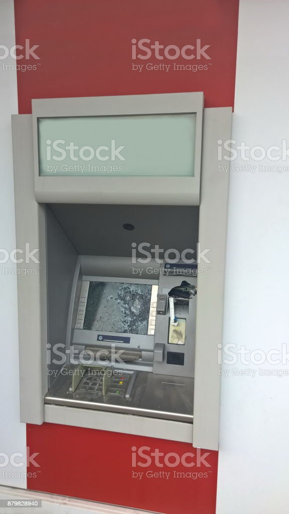 damaged atm stock photo