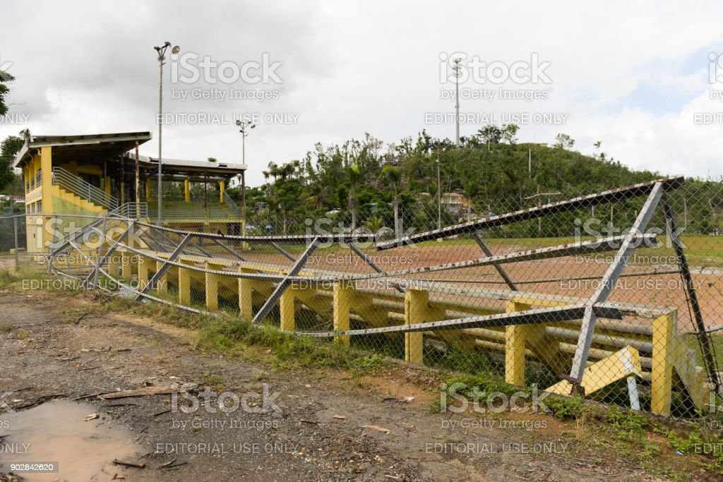 Damaged baseball field stock photo