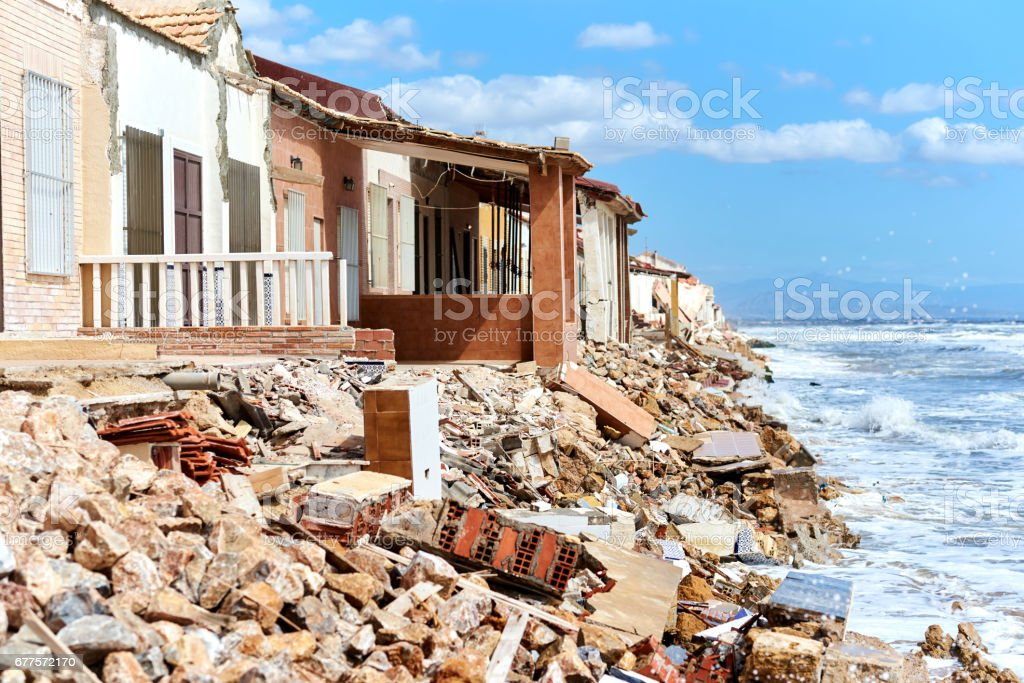 Damaged beach houses. Spain royalty-free stock photo