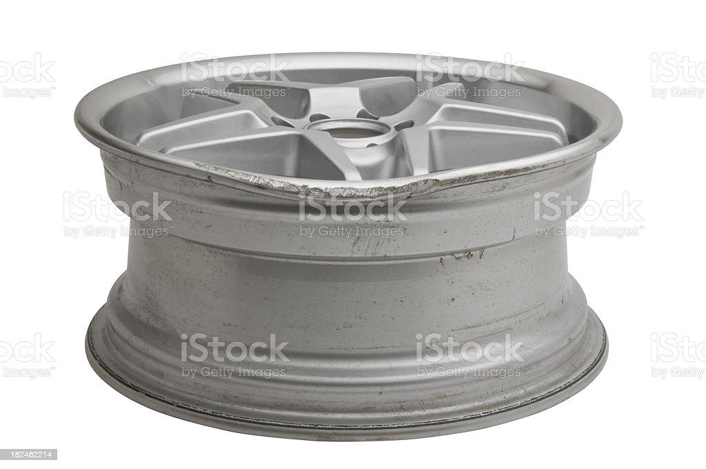 Damaged Bent Alloy Wheel stock photo