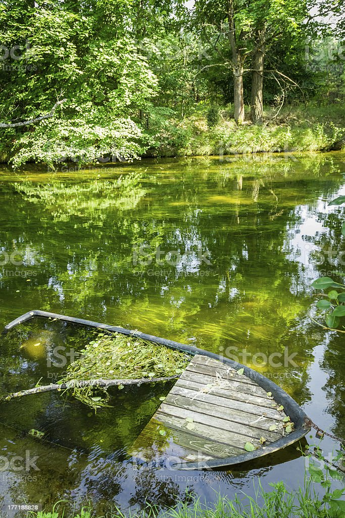 Damaged boat sunk by the river royalty-free stock photo