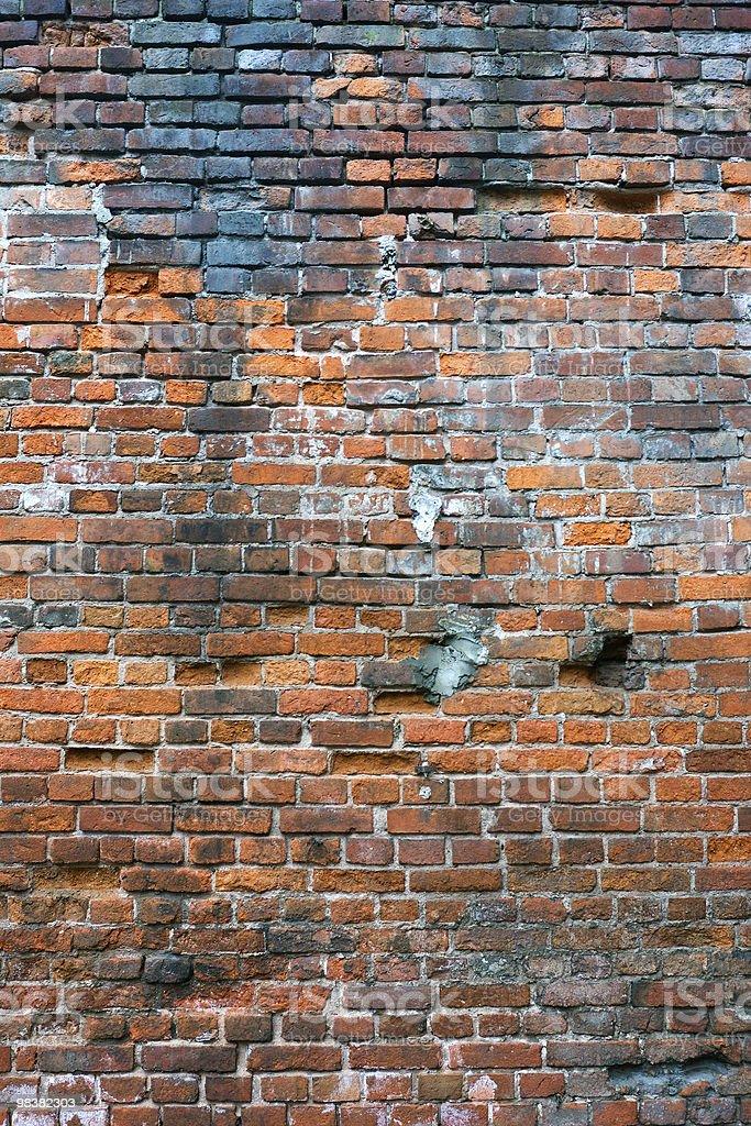 damaged brick wall royalty-free stock photo