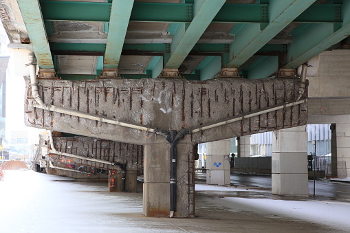 Damaged bridge support in Toronto, Canada