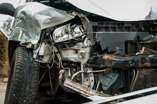 Damaged car after a terrible crash