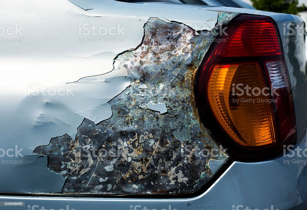 Damaged car, side view stock photo
