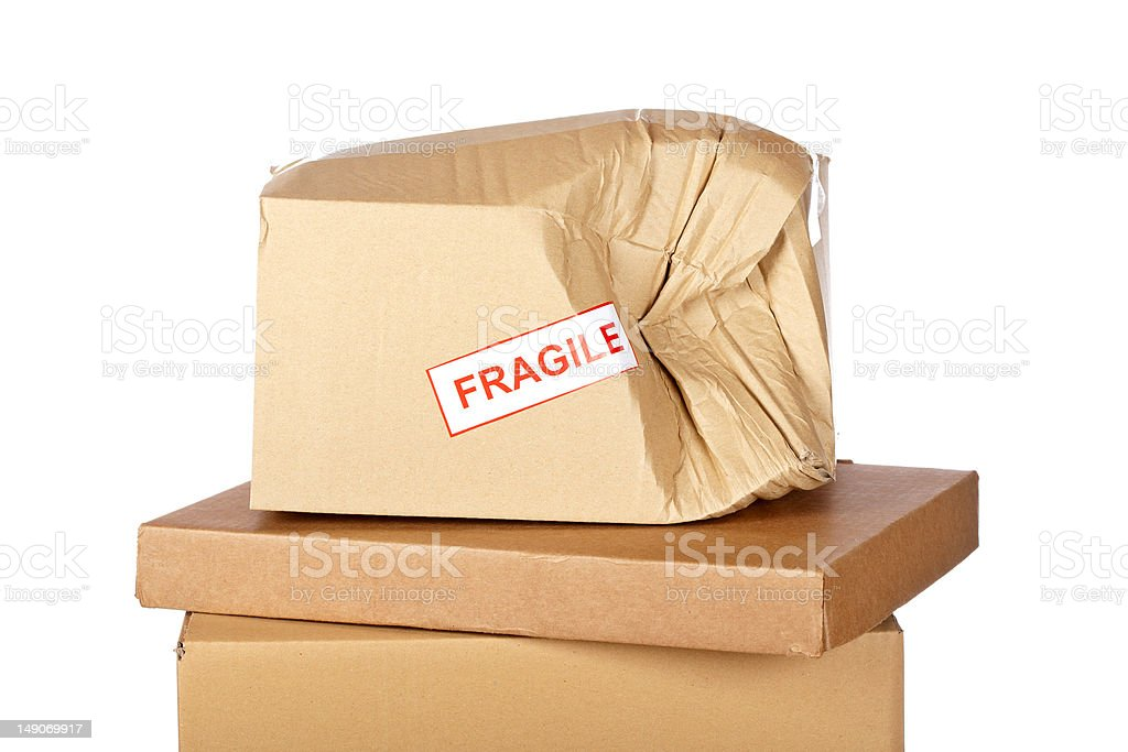 Damaged cardboard box stock photo