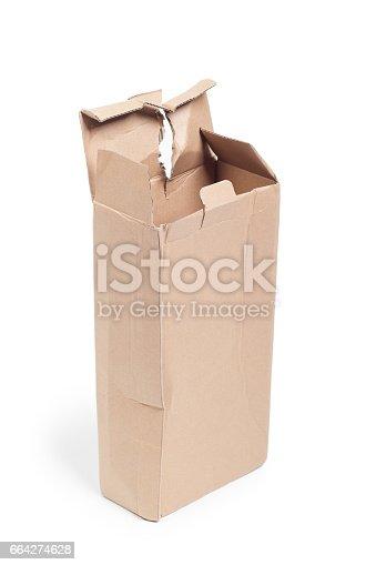 istock Damaged cardboard box 664274628