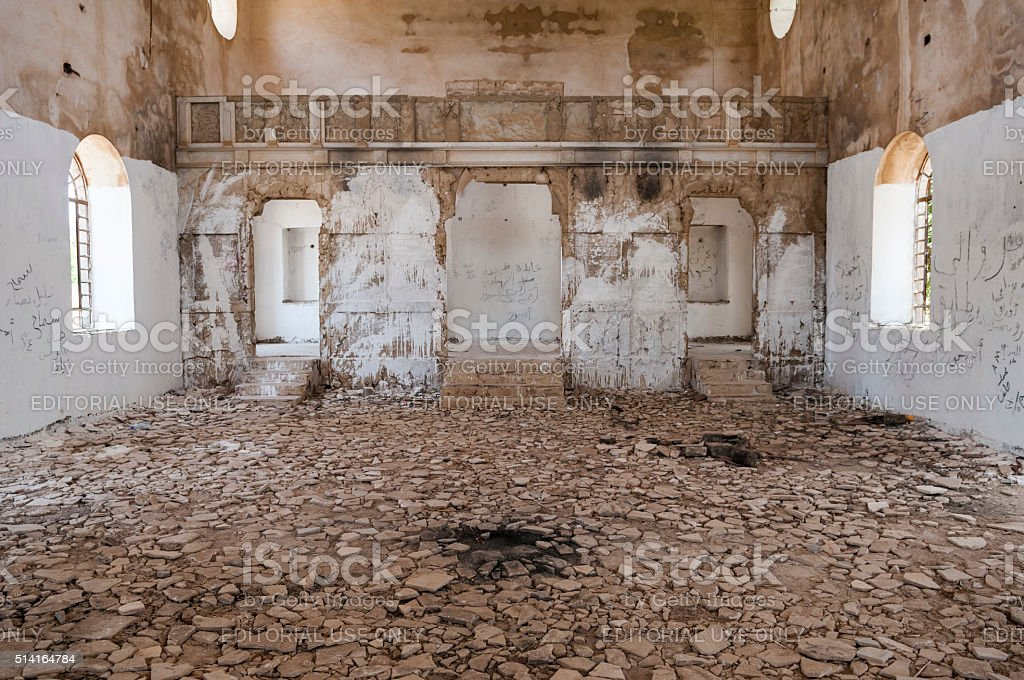 Damaged Christian church in Quneitra, Syria stock photo