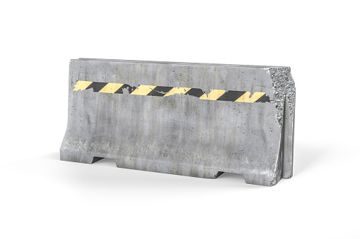 A damaged and faded concrete barricade isolated on white background - 3d render