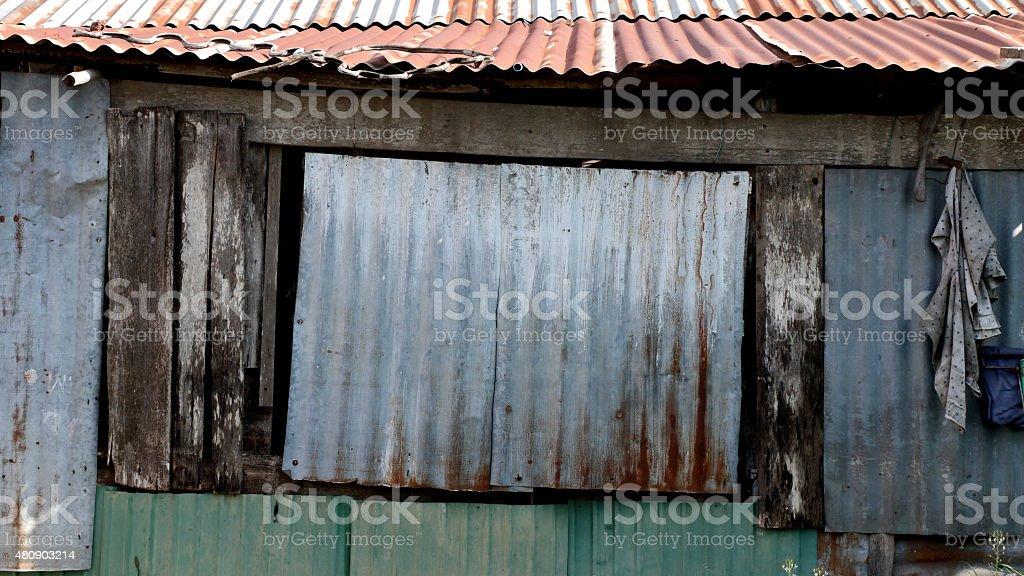 Damaged Corrugated Metal Surface Background stock photo