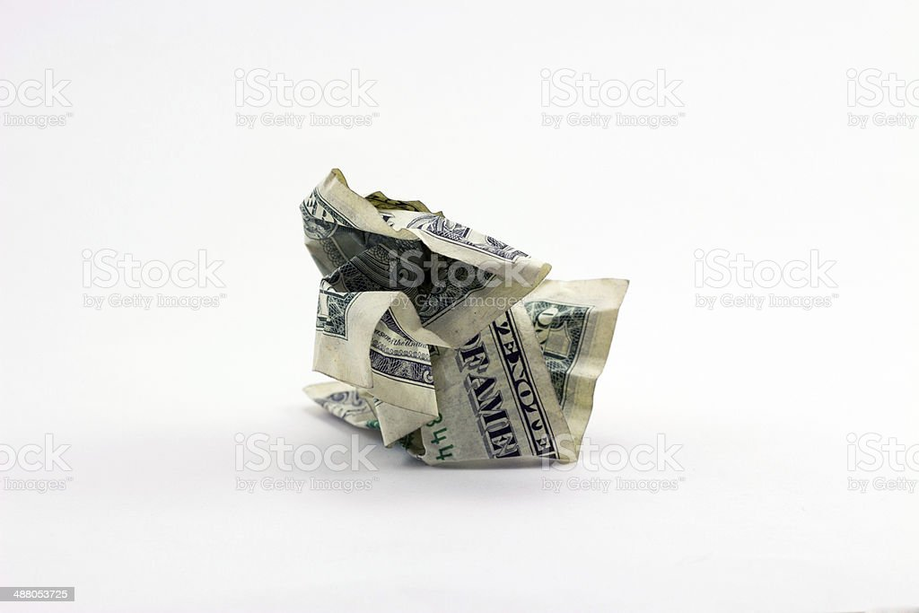 Damaged Dollar Bill stock photo