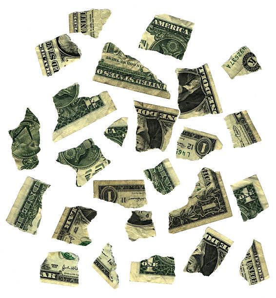 damaged dollars stock photo