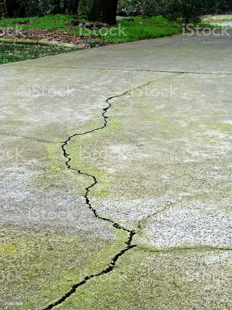 A large crack running down the driveway of a residential home. The...
