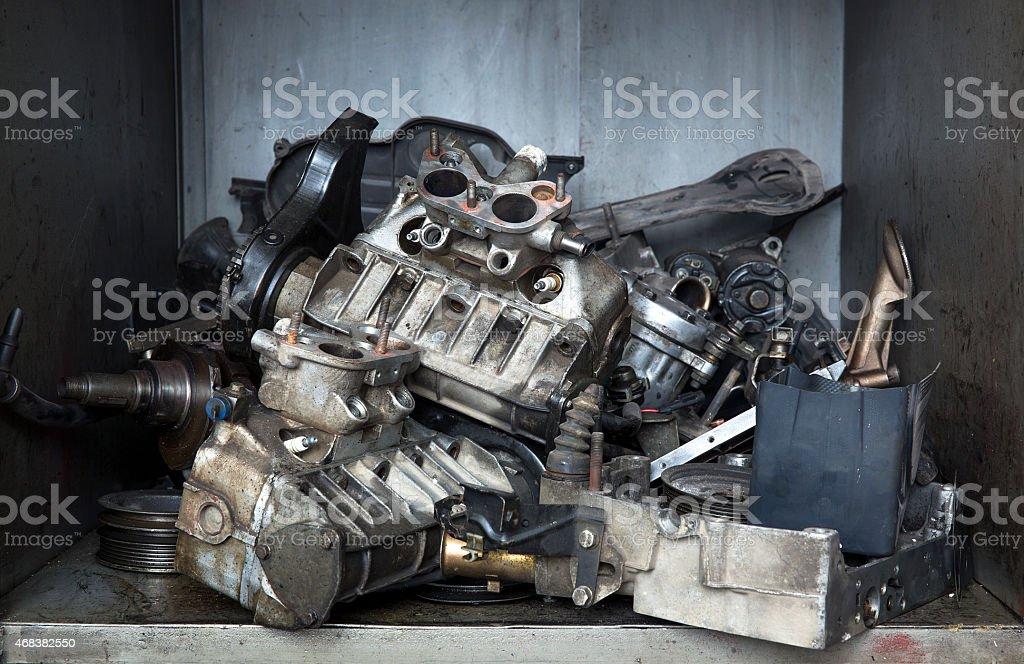 damaged engine stock photo