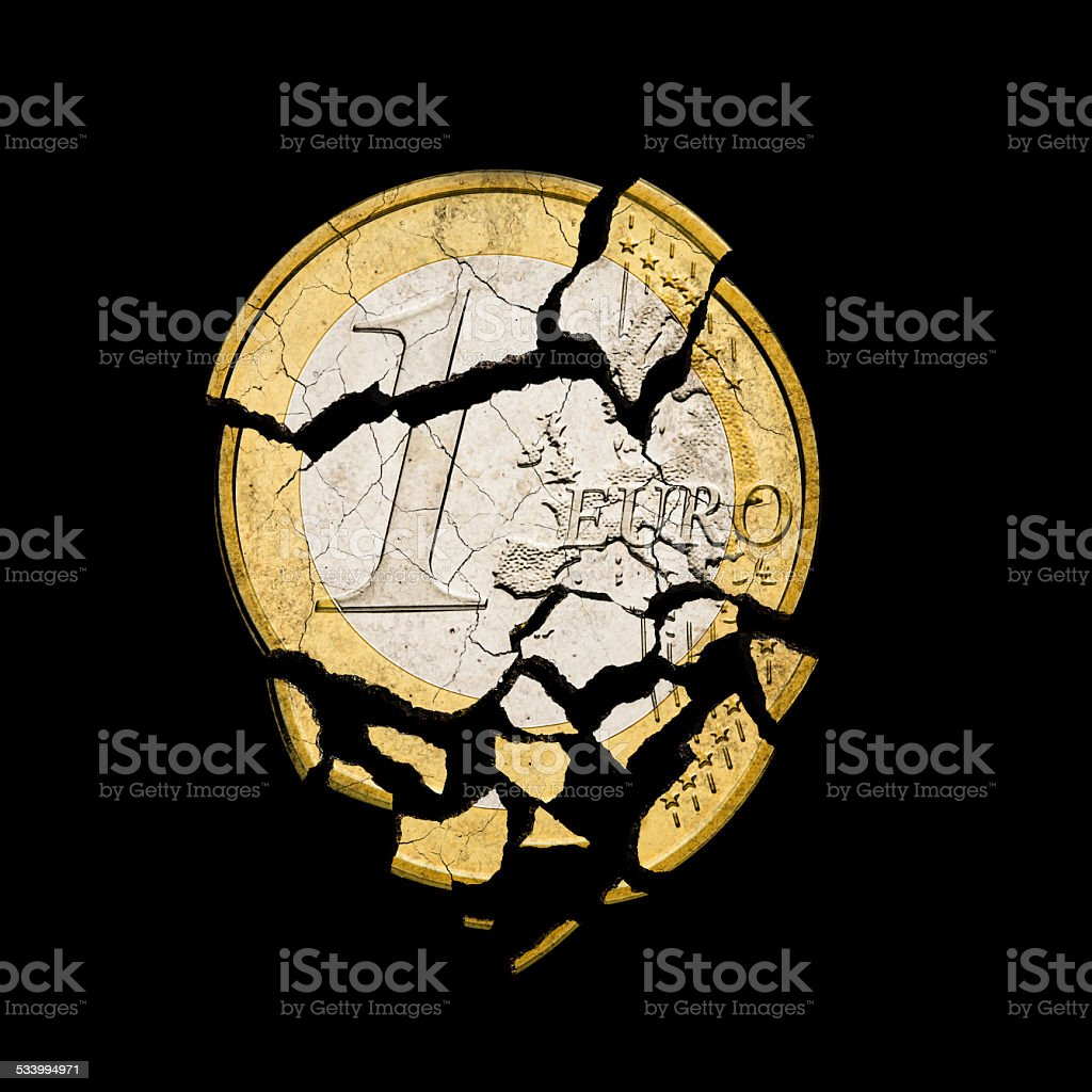 damaged euro coin on black background stock photo