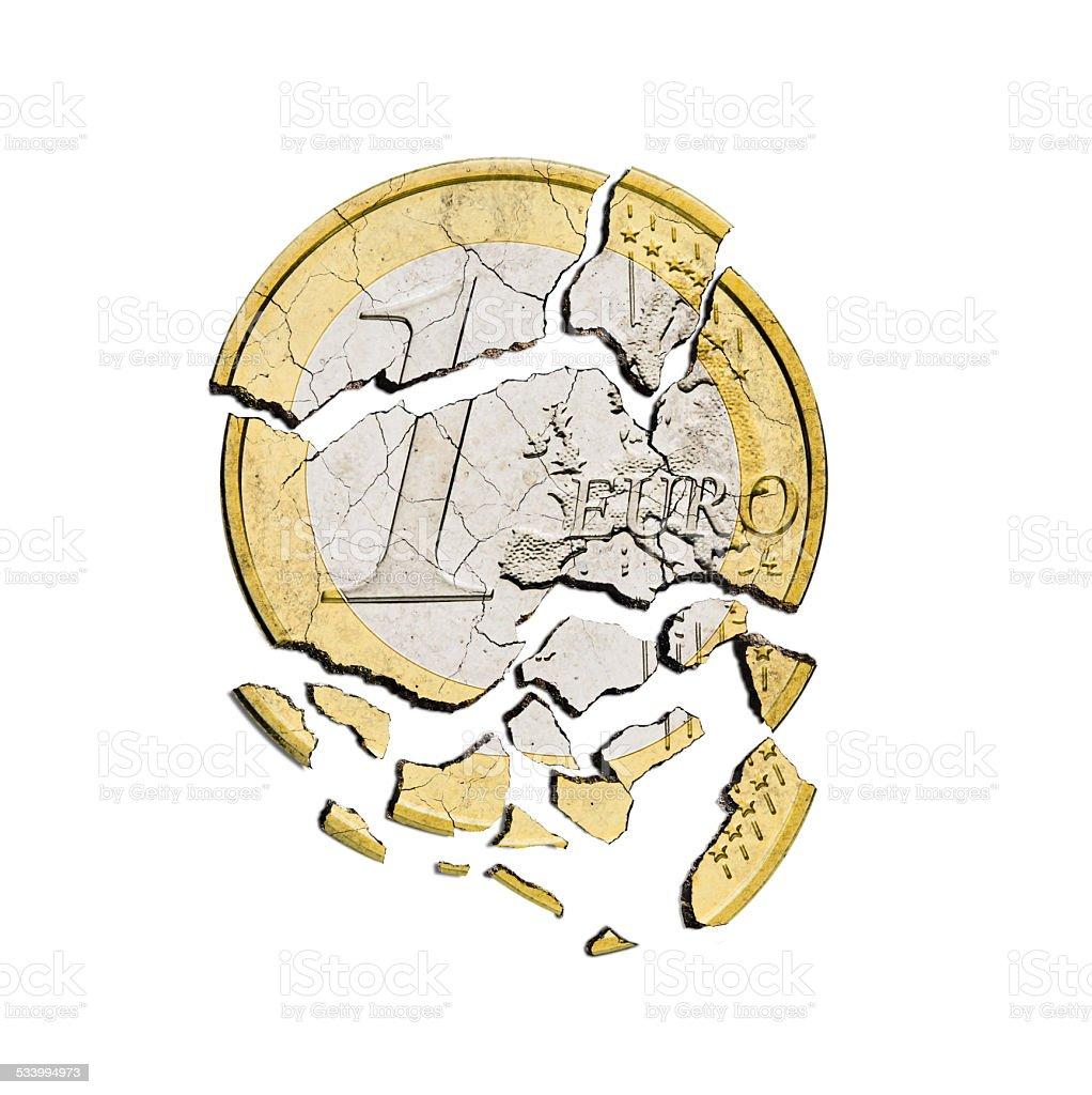 damaged euro coin on white background stock photo